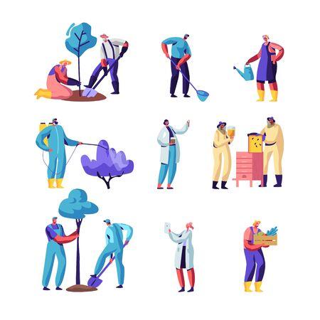 Agricultores, apicultores, jardineros. Personajes de cultivo y cuidado de plantas en jardín o invernadero, plantación de árboles, recolección de cultivos en la granja, producción de miel, trabajo estacional, ilustración vectorial plana de dibujos animados Ilustración de vector