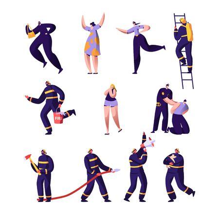 Ensemble de pompiers, policiers et victimes. Policiers et pompiers au travail. Sac de vol criminel, personnages masculins en uniforme pulvérisant de l'eau de combat de tuyau avec Blaze. Illustration vectorielle plane de dessin animé