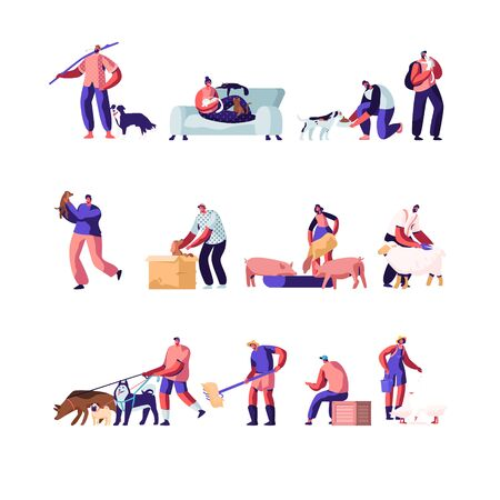 People with Pets and Domestic Animals Set. Characters Feed Cattle, Farming Job, Shearing Sheep, Prepare Hay for Livestock. Spending Time with Pets at Home and Outdoors Cartoon Flat Vector Illustration