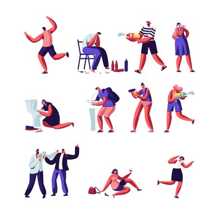 Drinkers and People Playing with Water Guns Set. Characters with Alcohol Addiction, Drunk Men and Women Lying on Ground, Puking, Hot Summer Time Season Weather Games. Cartoon Flat Vector Illustration