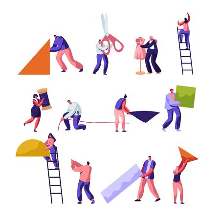 Designers. Tailoring and Creative Atelier Workers Profession Set. Fashion Design, Dressmakers Create Outfit and Apparel, Mannequin. Tailor Textile Craft Business. Cartoon Flat Vector Illustration Ilustracje wektorowe