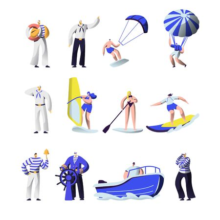 Summer Time Extreme Sports and Sea Professions Set. Ship Crew Uniform, Captain, Sailors, Surfing, Sup Board, Paragliding, Motor Boat Riding, Sailing, Vacation, Leisure Cartoon Flat Vector Illustration 일러스트