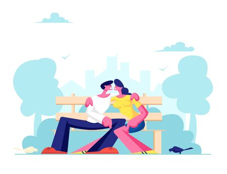 Romantic Relations, Love. Young Loving Couple Hugging on Bench in City Park. Summertime Vacation. Outdoors Spare Time, Leisure. Cartoon Flat Vector Illustration, Banner Illustration
