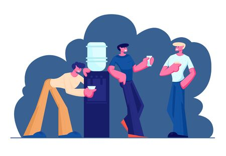Businessmen, Friends or Colleagues Having Coffee Break in Meeting Room. Smiling Relaxing Men Stand at Cooler Drinking Beverages after Work, Friendly Conversation. Cartoon Flat Vector Illustration Illustration