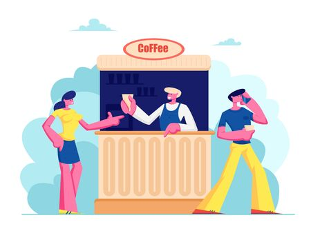 Young Woman Buying Coffee in Booth on Street. Summer Cafe with Drinks, Girl Buy Hot Beverages in Outdoor Cafeteria, Leisure, Walk, Spare Time, Salesman Serve Customer Cartoon Flat Vector Illustration