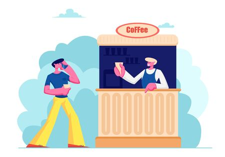 Young Man Speaking by Mobile Phone Buying Coffee in Booth on Street. Summer Cafe with Drinks, Outdoor Cafeteria, Leisure, Walk, Spare Time, Salesman Serve Customer Cartoon Flat Vector Illustration Stock Illustratie