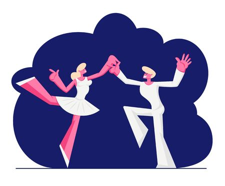 Ballet Dancers in White Clothes Dancing on Stage. Woman in Pointe Shoes and Tutu Skirt, Artist Prepare for Dance Show. Cartoon Flat Vector Illustration, Banner