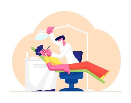 Man Lying in Medical Chair in Stomatologist Cabinet with Equipment. Doctor Conducting Patient Health, Medical Check Up Treatment. Cartoon Flat Vector Illustration Banner