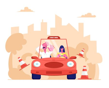 Driving School, Learner Driving Car with Frightened Instructor. Student Driver Girl Study Drive Automobile Bumping Road Signs. Cartoon Flat Vector Illustration, Banner Stock Vector - 128442925