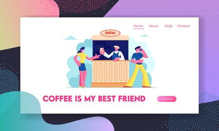 Outdoor Cafe Website Landing Page, Young Man and Woman Buying Coffee in Booth on Street. Summer Outdoor Cafeteria with Drinks, Salesman Serve Customer Web Page. Cartoon Flat Vector Illustration Banner
