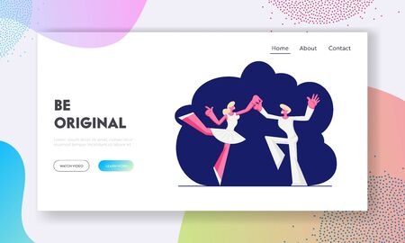 Ballet Website Landing Page, Ballet Dancers in White Clothes Dancing on Stage. Woman in Pointe Shoes and Tutu Skirt, Artist Prepare for Dance Show Web Page. Cartoon Flat Vector Illustration, Banner