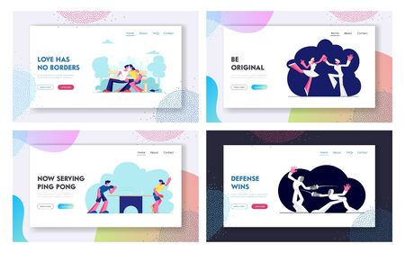 Happy Couples Sports, Dating Activity Website Landing Page Set, Male and Female Characters Fencing, Playing table tennis, Dancing in Ballet Studio Web Page. Cartoon Flat Vector Illustration, Banner