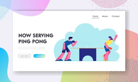 Happy Young People in Sports Uniform Playing  Table Tennis, Healthy Sport and Genuine Emotions. Lifestyle, Rest Website Landing Page, Web Page. Cartoon Flat Vector Illustration, Banner