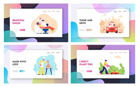 Professions Website Landing Page Set, Car Driving Instructor Teach Learner, Confectioner Make Festive Cake, Lawn Mower, Dentist Heal Patient in Clinic Web Page. Cartoon Flat Vector Illustration Banner