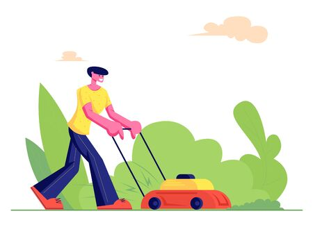 Man Gardener Cutting Green Grass with Lawn Mower, Farmer Mowing Garden Backyard, Gardening Work, Service, Household Activity. Cartoon Flat Vector Illustration, Banner