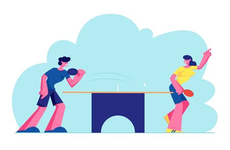 Happy Young People in Sports Uniform Playing Ping Pong or Table Tennis, Healthy Sport and Genuine Emotions. Lifestyle, Rest. Cartoon Flat Vector Illustration, Banner