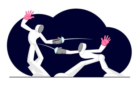 Fencing Athletes Wearing Sports Clothes and Mask Fight on Arena with Swords or Rapiers, Sport Activity, Competition, Tournament. Cartoon Flat Vector Illustration, Banner