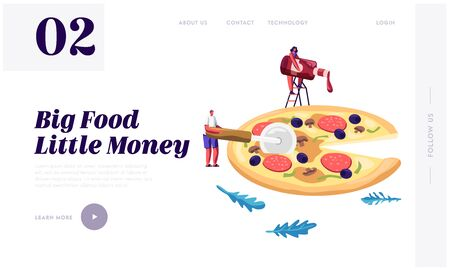 Pizzeria Website Landing Page, Tiny People Eating Huge Pizza. Male and Female Characters Try Tasty Italian Food. Fast Food, Cafe, Bistro Visitors Web Page. Cartoon Flat Vector Illustration, Banner 일러스트