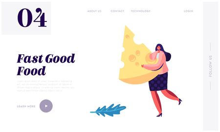 Woman Carry Huge Piece of Cheese, Diet, Healthy Nutrition, Fastfood Outdoor Street Party, City Fest Event, Pizza Festival Website Landing Page, Web Page. Cartoon Flat Vector Illustration, Banner Illusztráció