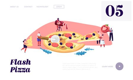Pizzeria Bistro Website Landing Page, Tiny People Eating Huge Pizza, Cut with Knife, Put Ketchup and Cheese, Italian Food. Fast Food, Cafe, Visitors, Web Page. Cartoon Flat Vector Illustration, Banner 向量圖像