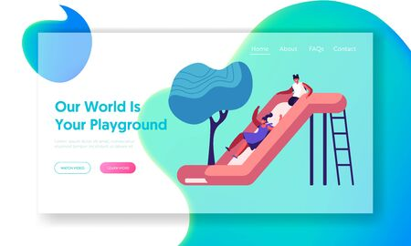 Happy Kids Girls Having Fun Sliding on Outdoor Playground. Children Playing on Slide, Active Games on Street. Summer Vacation, Website Landing Page, Web Page. Cartoon Flat Vector Illustration, Banner
