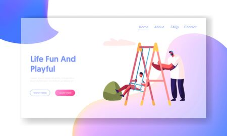 Father Swinging Child on Swing in Park or Playground. Happy Family Having Fun, Dad and Son Walking in Yard, Spend Time Together Website Landing Page, Web Page. Cartoon Flat Vector Illustration, Banner