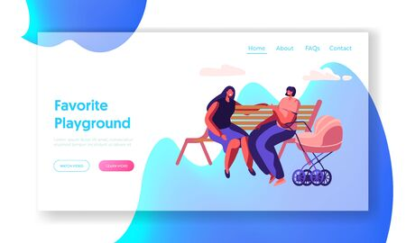 Happy Women Spend Time Together Sitting on Bench Outdoors and Chatting, Meeting Friends Lifestyle, Maternity, Parenthood, Website Landing Page, Web Page. Cartoon Flat Vector Illustration, Banner