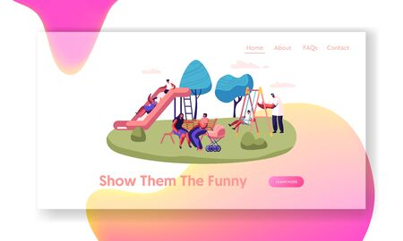 Happy Parents and Children Spend Time on Playground Outdoors Website Landing Page, Childhood, Parenting, Summer Vacation Activity, Happy Family Web Page. Cartoon Flat Vector Illustration, Banner
