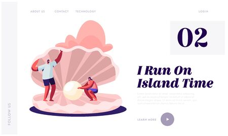 Summer Vacation, Holidays, Trip, Website Landing Page, Happy Couple of Tourists Man and Woman Stand at Huge Seashell with Beautiful Pearl, Adventure Web Page. Cartoon Flat Vector Illustration, Banner