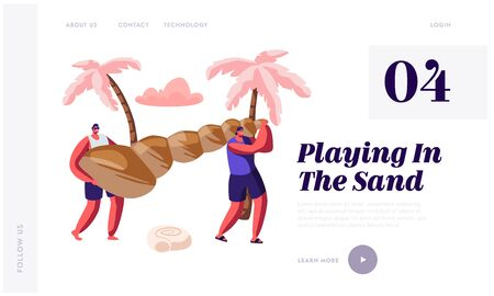 Tropical Resort, Trip. Summertime Seaside Activity. Website Landing Page, Tourists Carry Huge Seashell on Beach. People Relaxing on Summer Vacation, Web Page. Cartoon Flat Vector Illustration, Banner