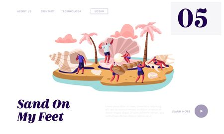 Summer Vacation Website Landing Page, Happy Tourists, Male and Female Characters on Exotic Island Sandy Beach with Palm Trees, Seashells and Conch Web Page. Cartoon Flat Vector Illustration, Banner