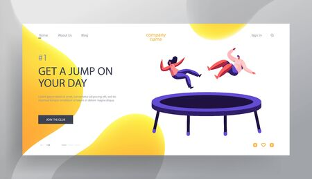 Happy Couple Jumping on Trampoline Website Landing Page, Fitness Center, Studio, Attraction, Leisure, Sports Acrobatics Training, Entertainment Dating Web Page Cartoon Flat Vector Illustration, Banner Illustration