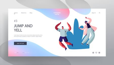 Happy People Enjoying Summer Time Website Landing Page, Male and Female Characters Jumping with Hands Up Cheering and Smiling, Spending Time Outdoors Web Page. Cartoon Flat Vector Illustration, Banner  イラスト・ベクター素材