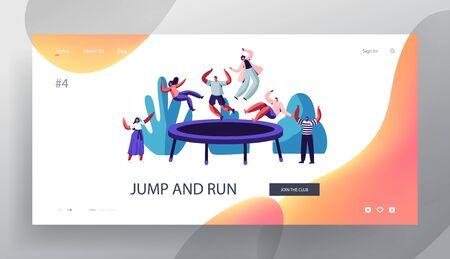 Les gens sautent sur la page de destination du site Web de trampoline, à l'extérieur, au centre de remise en forme, à l'attraction estivale, aux loisirs, à l'entraînement aux acrobaties sportives, à la page Web de divertissement. Illustration vectorielle plane de dessin animé, bannière