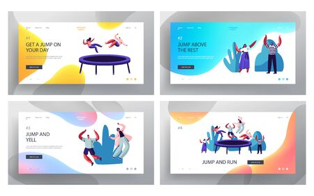 Happy People Jumping on Trampoline Website Landing Page Set, Friends Having Fun Jump and Bouncing in Amusement Park or Corporate Party Entertainment. Web Page. Cartoon Flat Vector Illustration, Banner