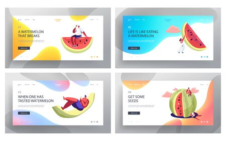 Tiny Characters with Huge Watermelon Website Landing Page Set, Friends Company Summertime Leisure, Beach Party, Summer Vacation, Holidays, Food Web Page. Cartoon Flat Vector Illustration, Banner  イラスト・ベクター素材