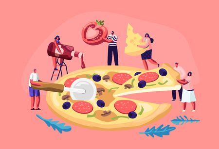 De minuscules personnes mangeant d'énormes pizzas. Personnages masculins et féminins coupés au couteau, mettez du ketchup et du fromage, prenez un morceau de cuisine italienne savoureuse. Restauration rapide, café, visiteurs de bistrot. Illustration vectorielle plane de dessin animé