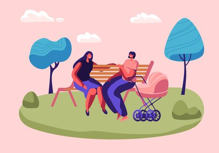 Happy Women Spend Time Together Sitting on Bench Outdoors and Chatting, Meeting Friends Lifestyle, Girl with Baby Stroller, Maternity, Parenthood, People Spare Time, Cartoon Flat Vector Illustration