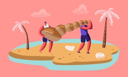 Couple of Male Tourist Characters Carry Huge Seashell on Sandy Tropical Beach. People Relaxing on Summer Vacation, Tropical Resort, Trip. Summertime Seaside Activity. Cartoon Flat Vector Illustration