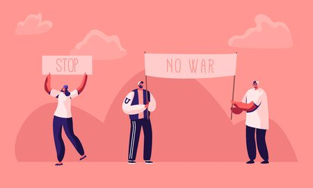 Protesting People with Placards and Signboard on Strike or Demonstration, Male, Female Activist Characters with Banners and Signs Against War, Protest, Riot, Picket. Cartoon Flat Vector Illustration Illustration