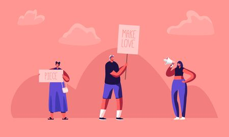 Hippie Male and Female Activist Characters with Banners for Love and Piece, Riot, Picket. Protesting People with Placards and Signboard on Strike or Demonstration, Cartoon Flat Vector Illustration