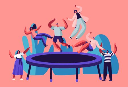Happy Teens Jumping on Trampoline, Friends Cheering. Young People Having Fun Jump and Bouncing, Spare Time, Activity, Amusement Park, Corporate Party Entertainment. Cartoon Flat Vector Illustration