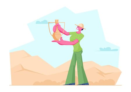 Archeologist Woman Found Ancient Jug in Desert, Scientist Character Working on Excavations and Exploring Archeological Artifacts. Girl Student Study Prehistory Ages. Cartoon Flat Vector Illustration