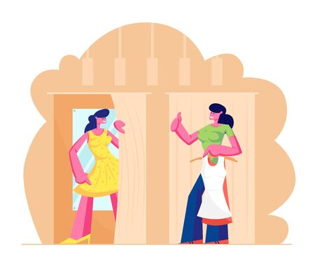 Young Woman Trying on Closes in Dressing Room at Store, Sales Woman Assistant Show Thumb Up. Girl in New Dress Stand in Cabin with Mirror in Shop. Shopping Spare Time. Cartoon Flat Vector Illustration