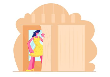 Young Woman Trying on Closes in Dressing Room at Store, Girl in New Yellow Dress Stand in Cabin with Mirror in Shop. Shopping Spare Time, Leisure, Shopaholic Fun. Cartoon Flat Vector Illustration