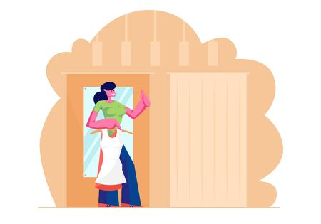 Young Woman Trying on Closes and Apparel in Dressing Room at Garment Fashion Store, Girl in New Dress Stand in Cabin with Mirror in Shop Show Thumb Up. Shopping Time. Cartoon Flat Vector Illustration 일러스트
