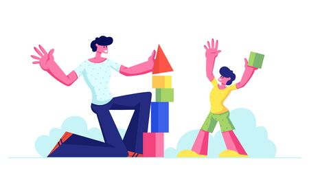 Dad and Little Child Boy Having Fun Building Constructor Tower from Colorful Wooden Blocks and Cubes. Happy Family Leisure, Spare Time, Education. Father and Son Game Cartoon Flat Vector Illustration Ilustração