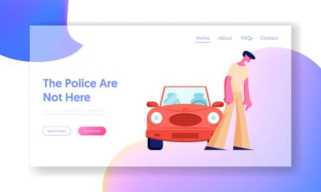 Sad Male Character Stand at Car on Road, Intruder at Accident or Breakdown, Safety Control, High Speed Traffic Violation, Website Landing Page, Web Page. Cartoon Flat Vector Illustration, Banner