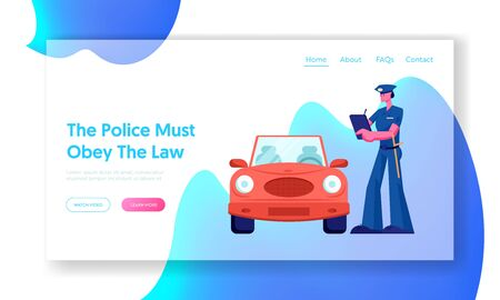 Police Officer Write Fine Website Landing Page. Law Protection, Car Traffic Inspector, Safety Control, High Speed Traffic Violation, Policeman Work Web Page. Cartoon Flat Vector Illustration, Banner Illustration