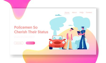 High Speed Traffic Violation Website Landing Page. Police Officer Write Fine on Road to Intruder. Car Traffic Inspector Safety Control Policeman Work Web Page. Cartoon Flat Vector Illustration, Banner